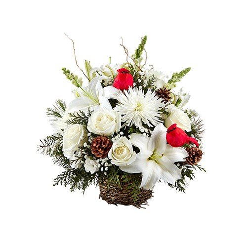 Winter-song-bird-beautiful-flower-arrangement-for-christmas-includes-pinecones-red-cardinal-accents
