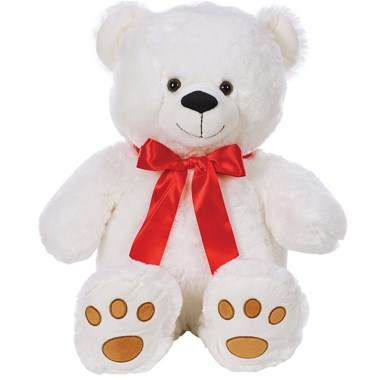 White-bear-with-red-bow-for-flower-arrangements