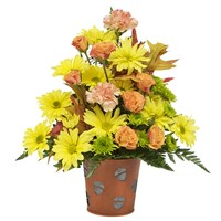 Country-Meadow-Sunshine-filled-with mix-flowers in-a-fall-leaf-container